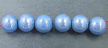 Blue Lustre- 6  15mm beads