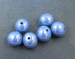 Blue Lustre- 6  14mm beads
